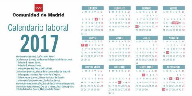 Calendario laboral para 2017 en Madrid - MADRID ACTUAL